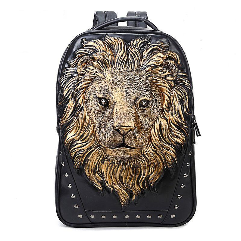 Unisex Mochilas Feminina Backpacks for Women Cool Leather 3D Lion ... 69c373a14a0c7