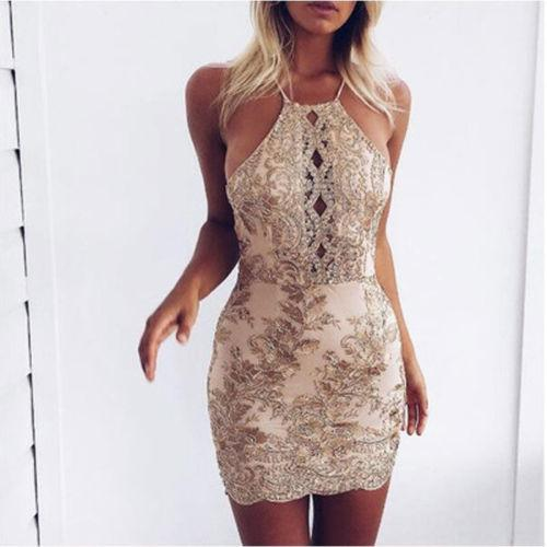 2019 Women Sexy Summer Bandage Bodycon Evening Party Club Wear Casual Hollowed Out Lace Sleeveless Dress