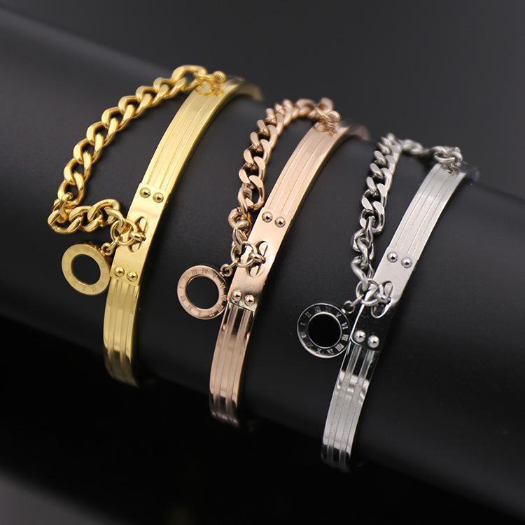 c93a6268c3 fashion jewelry titanium gold love bracelets bangles punk Rome digital  Round Black Onyx mosaic thick chain snap silver Bracelet