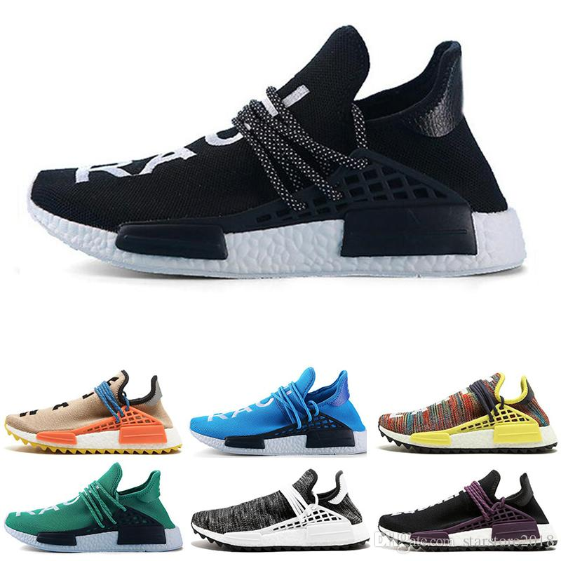 2137bd338af7 2019 Hot Sale Human Race Hu Trail X Pharrell Williams Nerd Men Running Shoes  White Equality Mens Trainers For Women Sports Sneaker Size 36 47 From ...