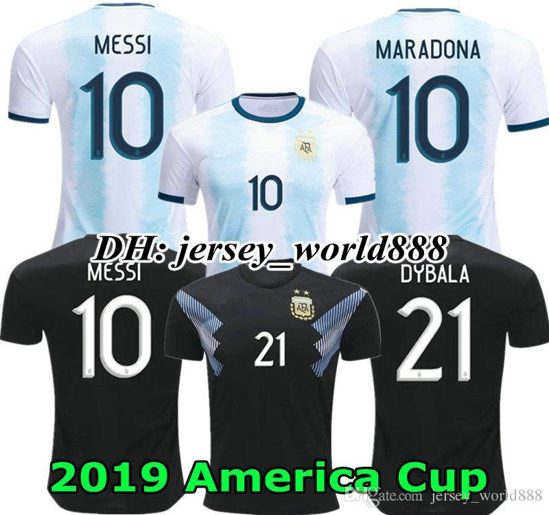 0b19ce187 Versión De Jugador Copa América 2019 Camiseta De Fútbol Local Argentina  MESSI ICARDI DYBALA AGUERO DI MARIA HIGUAIN MARADONA 19 20 Camiseta De  Fútbol Por ...