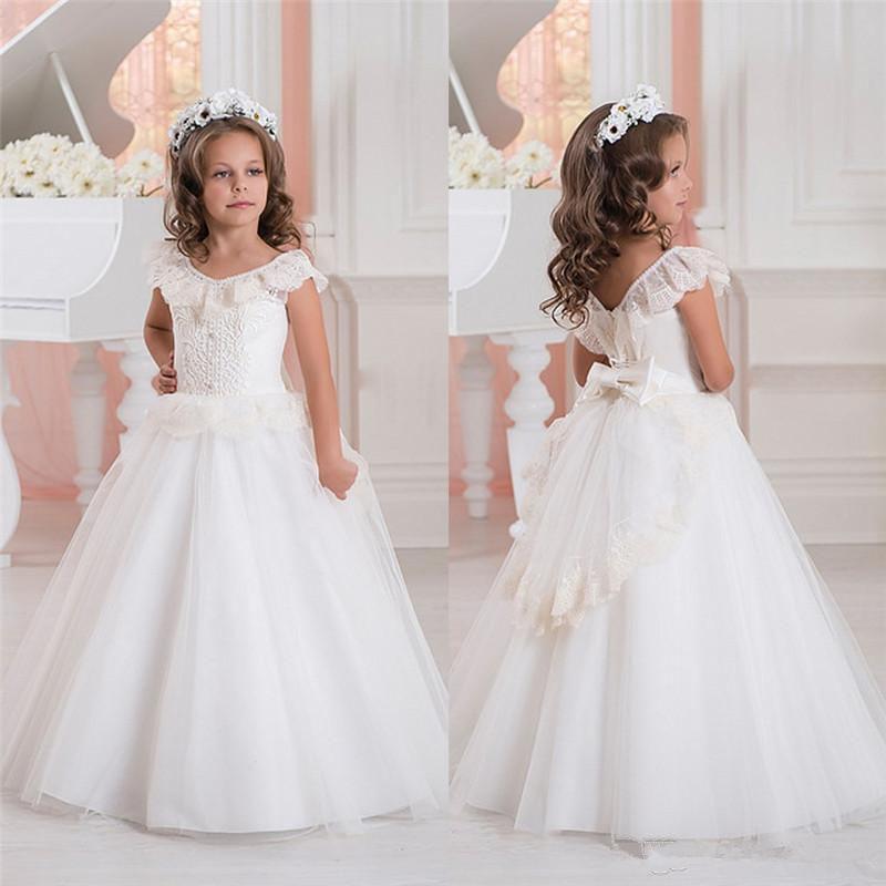e35404598bb6 White Ivory Lace Applique Kids Litle Girl Flower Girl Dress ...