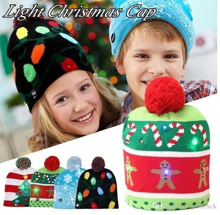 9b9a18ca490 2019 New Funny LED Knitted Christmas Hat Kids Adults Warm Hat New Year  Christmas Decoration Party Tree Snowflake Hat DC017 Led Christmas Hat Knit  Hat ...