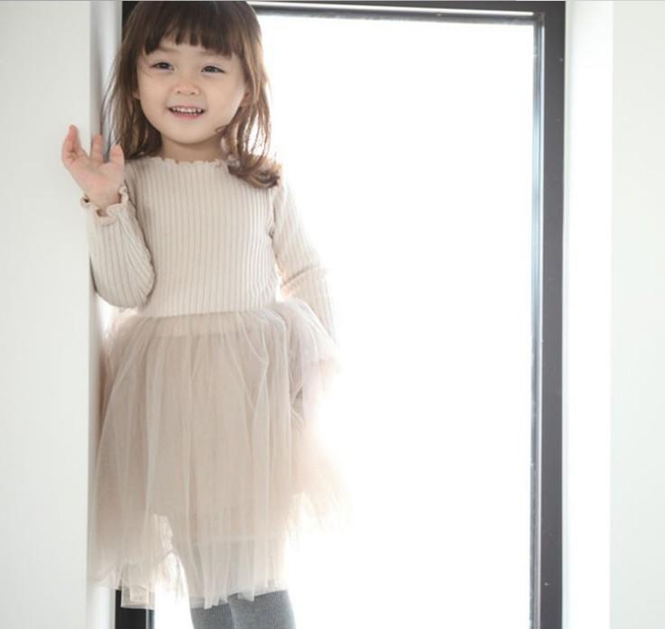 14f16732b3 Children Clothes Girls birthday party dresses kids vertical stripe knit  long sleeve Dress Chldren splicing lace tulle Tutu dress