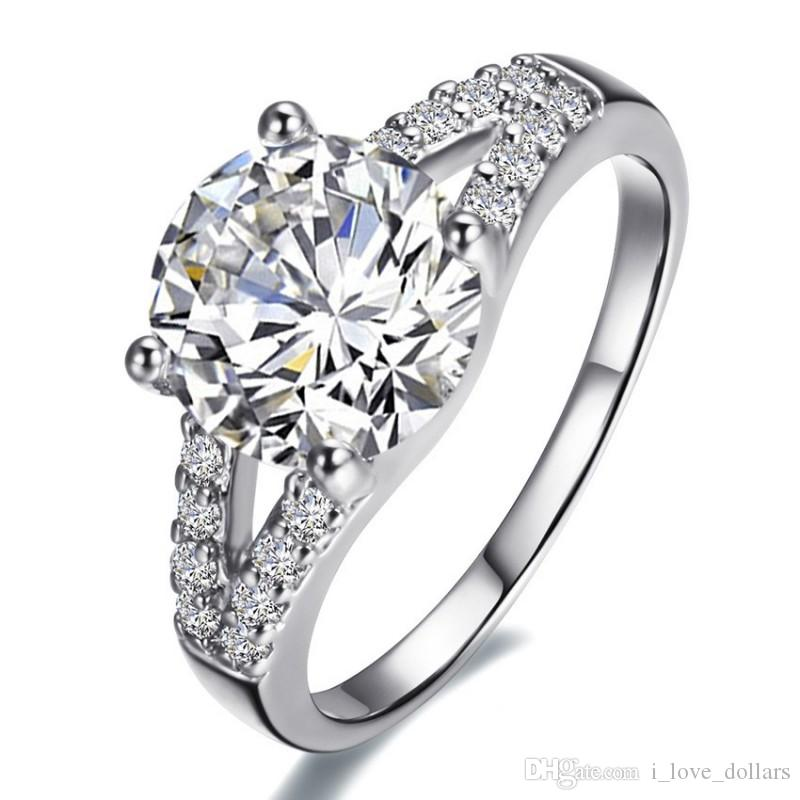 Wholesale - 2Ct SONA Synthetic Diamond Ring for women Wedding bands Engagement Ring Silver white gold plated lovely promise Prong setting