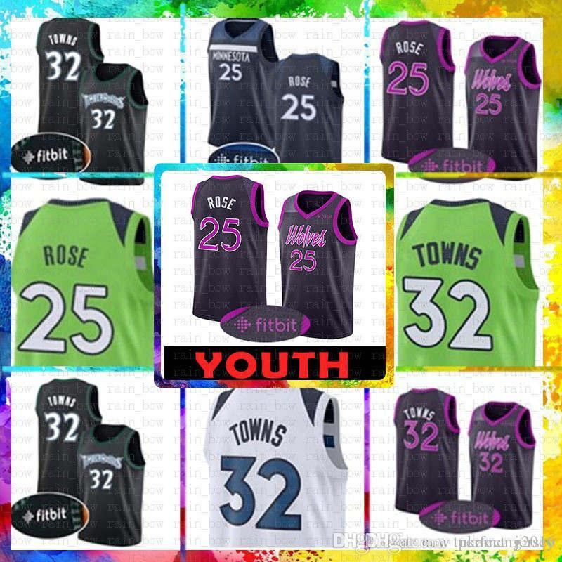 64686ee96f2 2019 Youth Kid S 25 Derrick   Rose Minnesota Jersey Timberwolves 32 Karl  Anthony   Towns Basketball Jerseys The CiTY Retro MENS From Tukameng2016