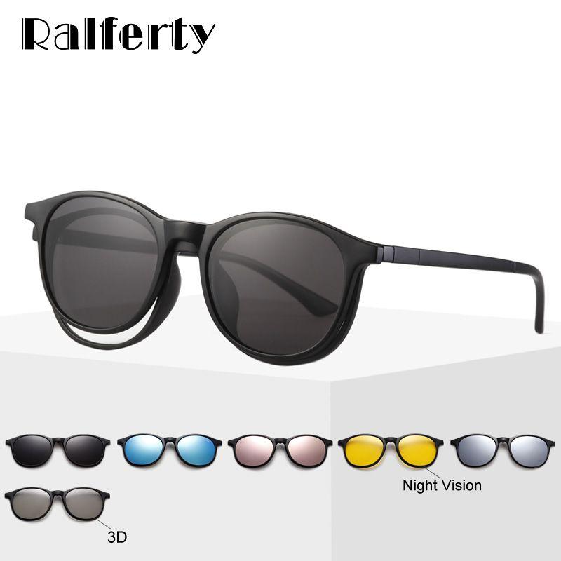 ef6cdfc01b91c Compre Ralferty 6 Em 1 Ímã Óculos De Sol Das Mulheres Polarizada Óculos De  Armação Com Clip On Óculos Homens Rodada UV400 TR90 3D Amarelo Oculo A2245  De ...