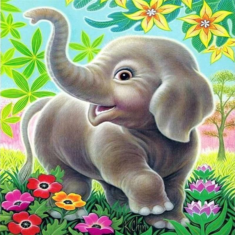 Acquista elefante 5d pittura diamante fai da te cartone animato naso