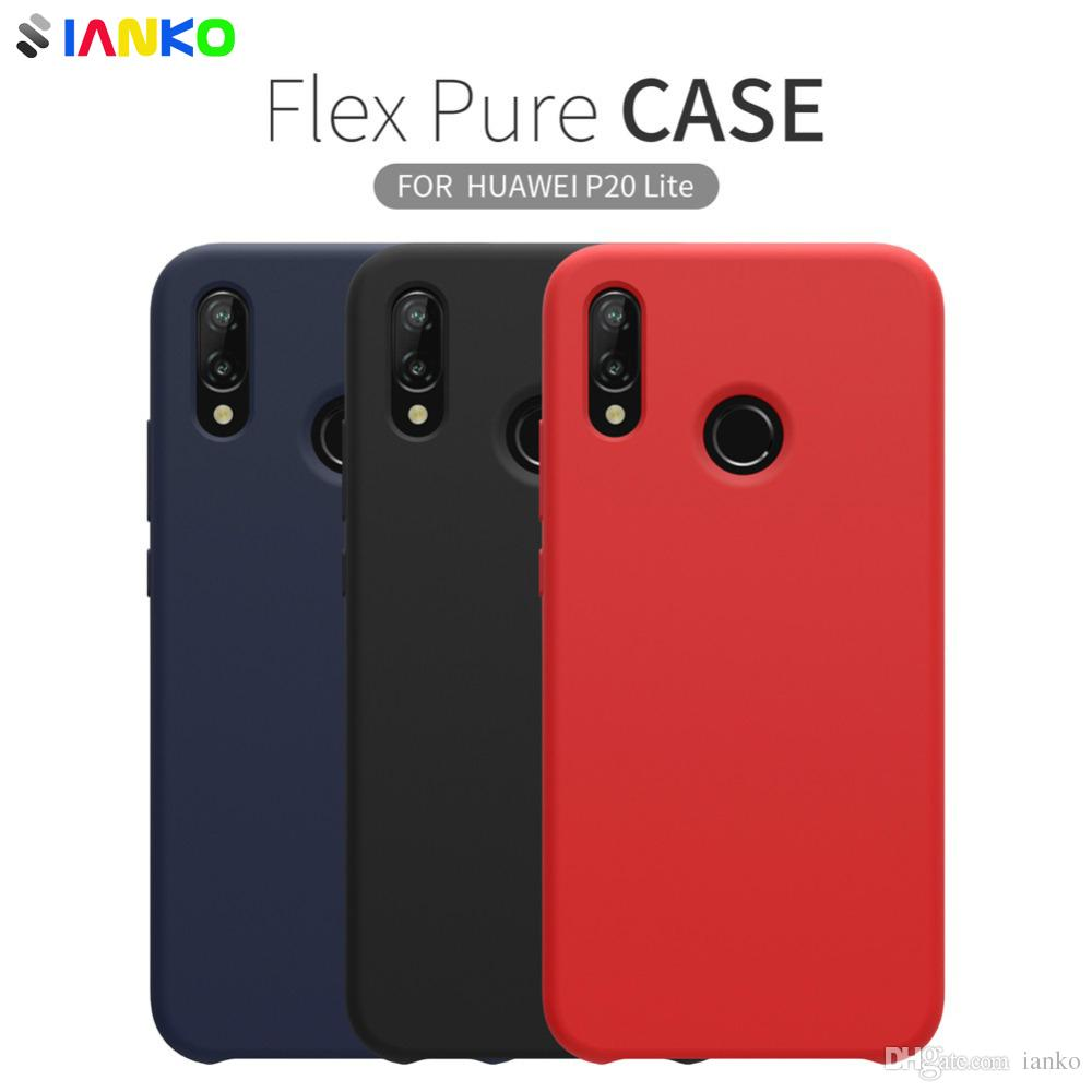 new style 974bf 75d1f Official Liquid Silicone Case For Huawei P20 Lite Case Flex Pure Shell Slim  Soft Silicone Rubber Shockproof Back Cover For Huawei Nova 3e