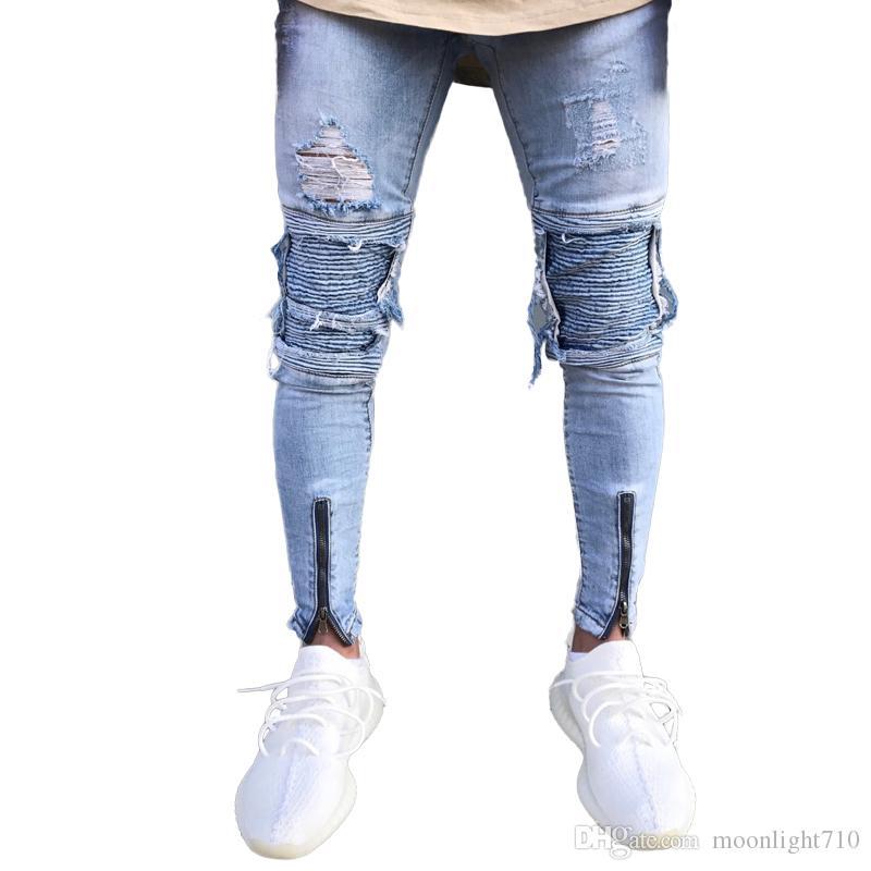 8f40968f38 Compre Diseñador Slim Fit Jeans Rasgados Hombres Hi Street Para Hombre  Joggers Vaqueros Desgastados Agujeros De La Rodilla Jeans Desgastados  Lavados A  38.2 ...