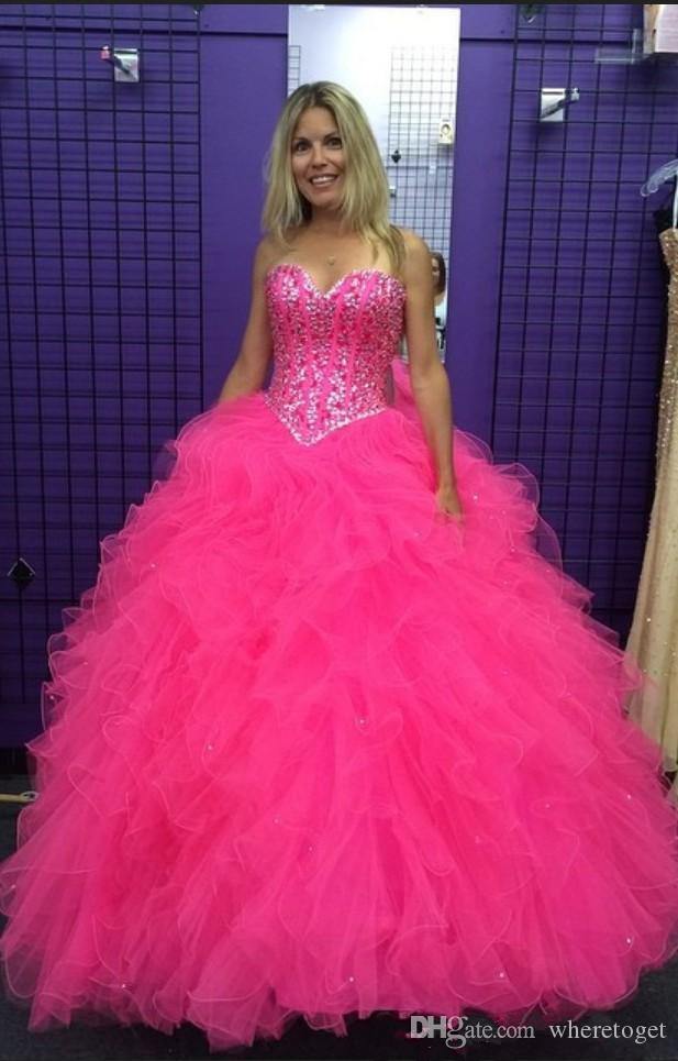 63da4b8a218a 2019 New Pink Ball Gown Quinceanera Dresses Long Sweetheart Crystal Bling  Beaded Ruffles Corset Back Prom Evening Dress Sweet 16 Party Expensive  Quinceanera ...