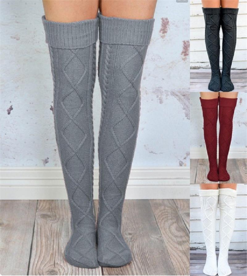 848e6d37e6d 2019 Over Knee High Girls Stockings Knitted Winter Long Socks Women  Knitting Leg Warmers Rhombus Crochet Socks Female Hosiery Thigh High  Stocking From ...