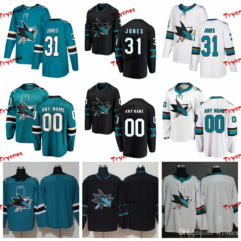 2019 Martin Jones - San Jose Sharks - Genähte Trikots Herren Anpassen Alternate Black Home Shirts 31 Martin Jones Hockey-Trikots S-XXXL
