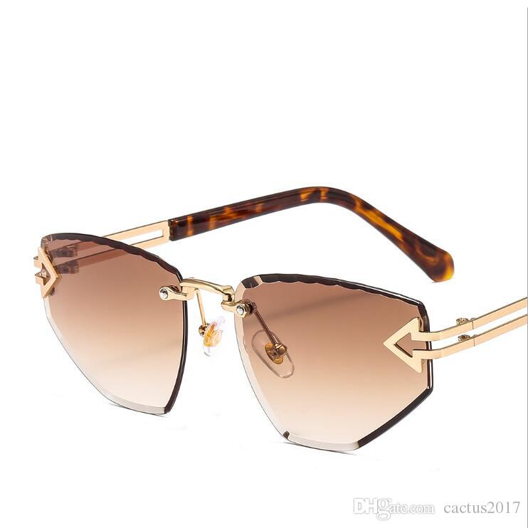 4c40f2cd46 Luxury Sexy Cat Eye Sungalsses Woman Fashion 2019 Arrow Metal Rimless Wavy  Edge Sun Glasses Candy Colors Gradient Lens Oculos Prescription Glasses  Online ...