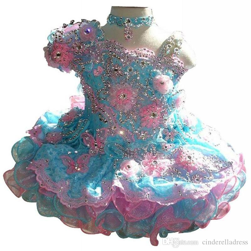 Cute Baby Girls Glitz Beaded Pageant Cupcake Gowns Withe Flores Mini faldas cortas para bebés Toddler Girls Vestido de encaje suave BO6995