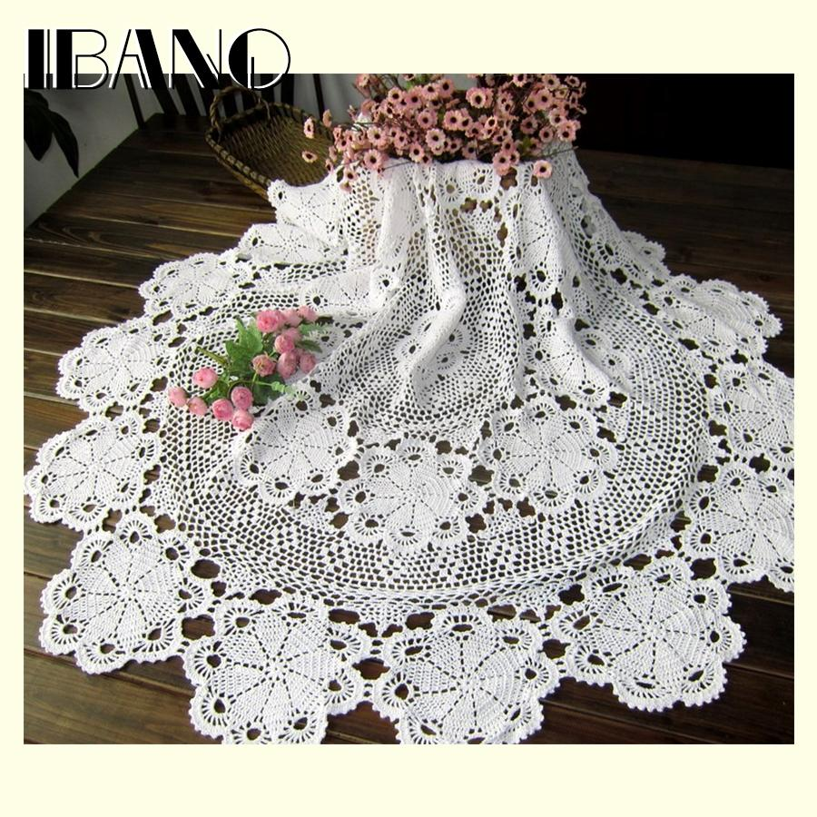 80/100/ 120/140/160cm Rd Shabby Chic 5 Sizes Vintage Crocheted Tablecloth Handmade Crochet Coasters Cotton Lace Cup Mat Placemat T8190620