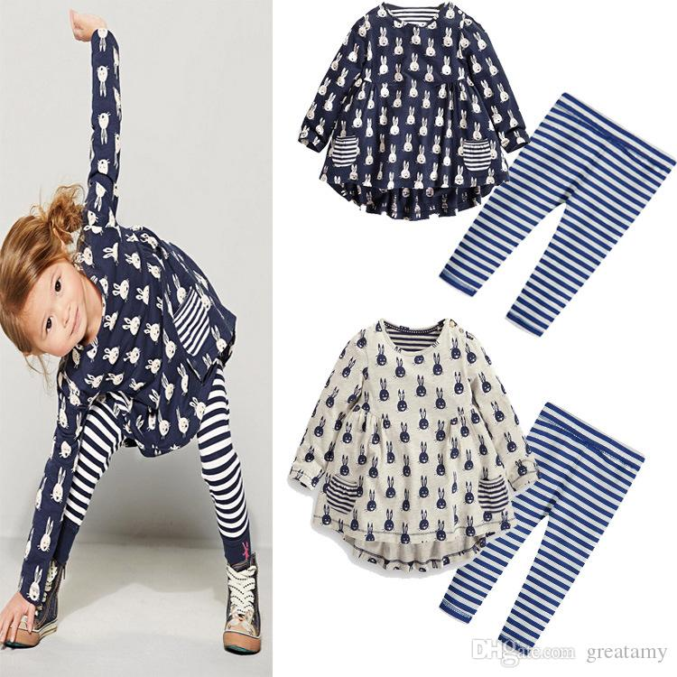 200b838ef409 Toddler Kids Cute Rabbit Suit Baby Girls Outfits Long Sleeve Dress Tops+stripe  Pans Clothes Set Kids Rabbit Suit Outfits Dress Pants Set Dress Tops Stripe  ...