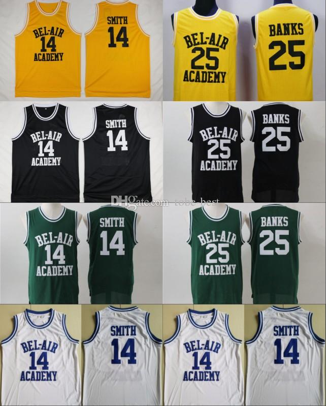 3bfe82f08a01 2019 Mens BEL AIR Academy Movie Jersey  14 Will Smith  25 Carlton Banks  Basketball Jerseys Yellow Black Green High Quality Wholesale From Tobe  Best