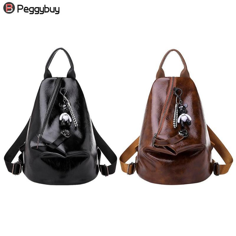 Casual Backpack For Girls Women Backpacks PU Leather Travel Shoulder Bags  Female Ladies Casual Daypack Preppy With Cute Pendant Laptop Backpacks  Travel ... b3572091f4460