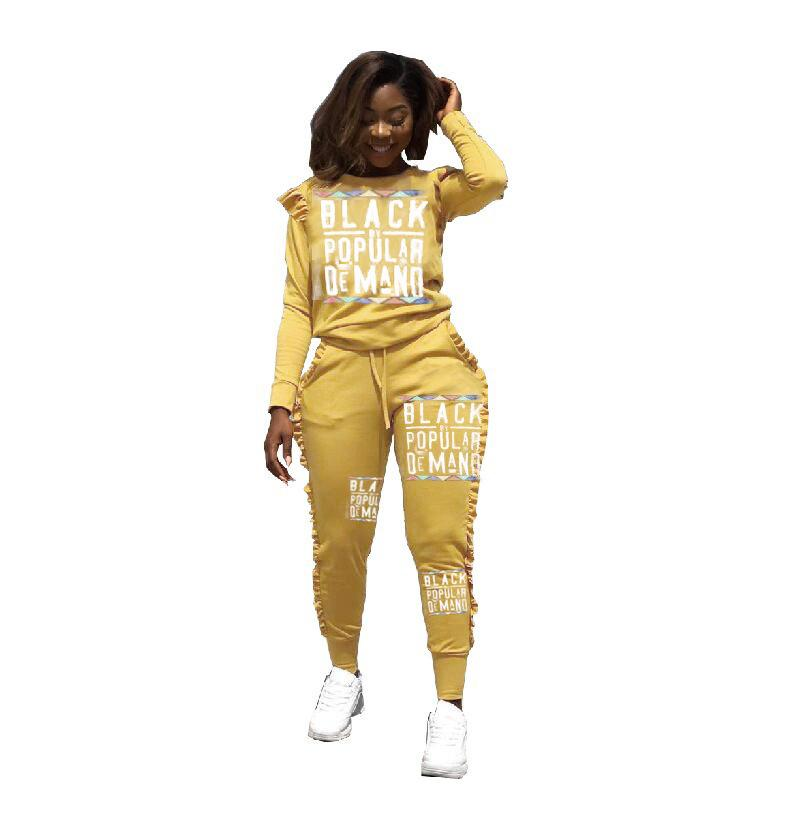 Spring Autumn Designer Tracksuit Fashion Women Hoodie 2 Piece Set Top with Pants Black Yellow Tracksuits