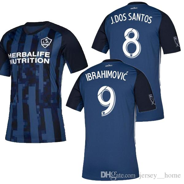premium selection 5b542 74f4d MLS 2019 Los Angeles Galaxy away Soccer Jersey LA GALAXY away blue Soccer  Shirt Customized # 9 IBRAHIMOVIC men football shirts