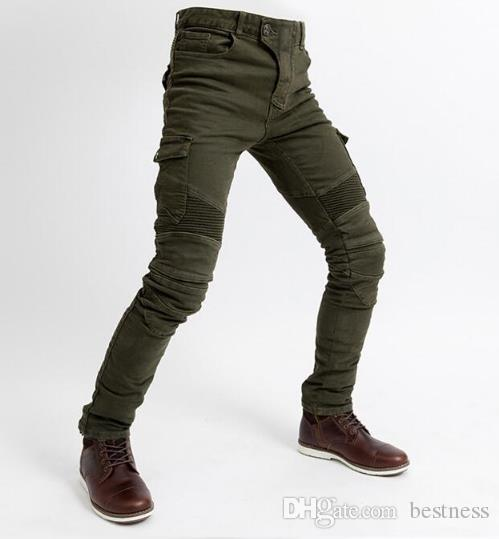 Motorcycle uglybros pants Drop-resistant pants, with protective gear, riding jeans Four season Men's style Olive green New Arrivals