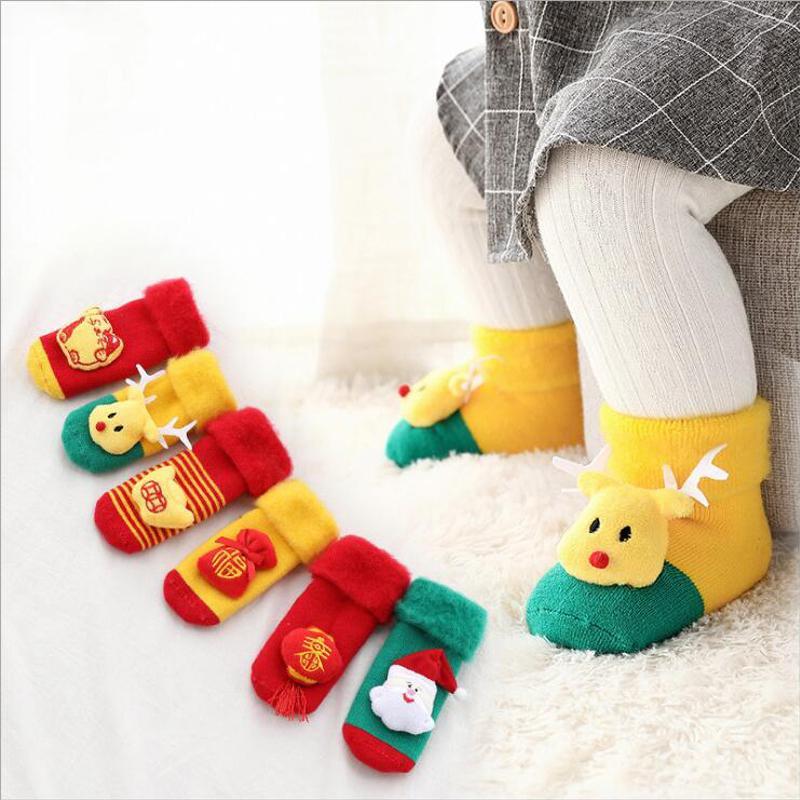 d1182ad9edae8 Acheter Pantoufles Confortables Coton Bébé Chaussettes Courtes Chaussettes  De Noël 3D Fabuleux Hiver Chaud Épais Socquette Exquis Impeccable Hocok De   34.69 ...