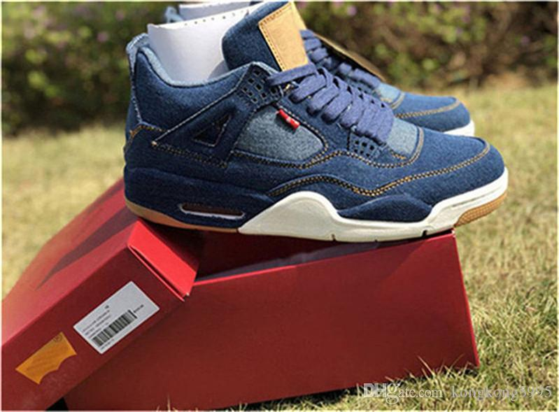 138890ae385 2018 Newest 4 Denim 4S Blue Black White Jean Men Basketball Shoes Authentic  Quality Sports Sneakers With Box AO2571 401 Online Shoes Cheap Shoes From  ...