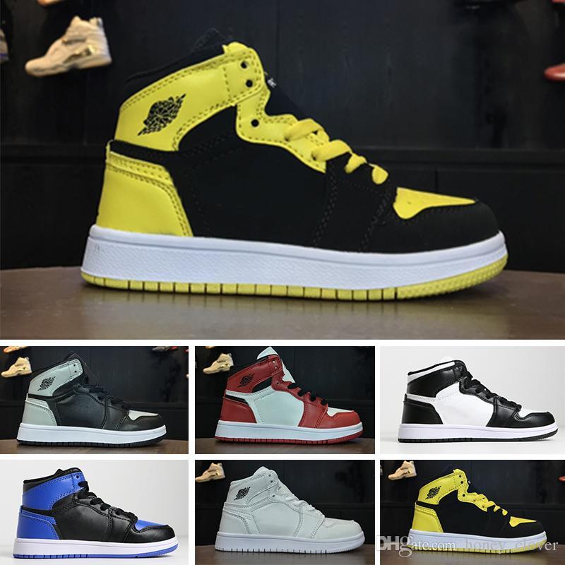 1c750dbc59817d Acheter Nike Air Jordan 1 Retro 2018 Nouveaux Enfants Off Chaussures 1 J1s Chaussures  De Basket Ball Enfants Running Chaussures Garçon Filles Tresses ...