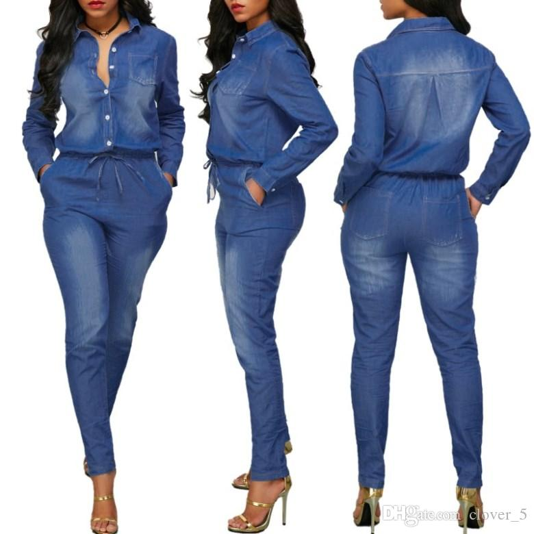 Womens one Piece Set jeans Tracksuit jumpsuit long sleeve Pants Autumn tight fashion belt new arrive hot selling Women clothing klw2368