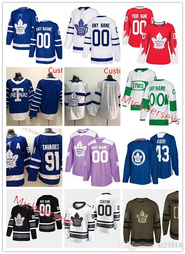various colors 83786 a6f6a Custom Toronto Maple Leafs Auston Matthews Jersey Mitchell Marner Patrick  Marleau William Nylander Frederik Andersen John Tavares Jersey