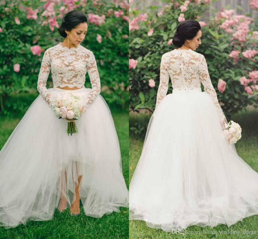 Beautiful Long Sleeve Two Pieces Beach Wedding Dresses 2019 High Low Country Tulle Boho Bohemian Bridal Gown Custom Made Dh6317