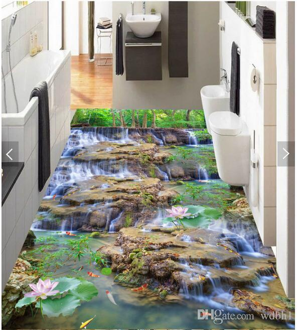 3d pvc flooring custom photo Sticker Flowing water waterfall landscape flowers lotus squid home decor living room wallpaper for walls 3 d