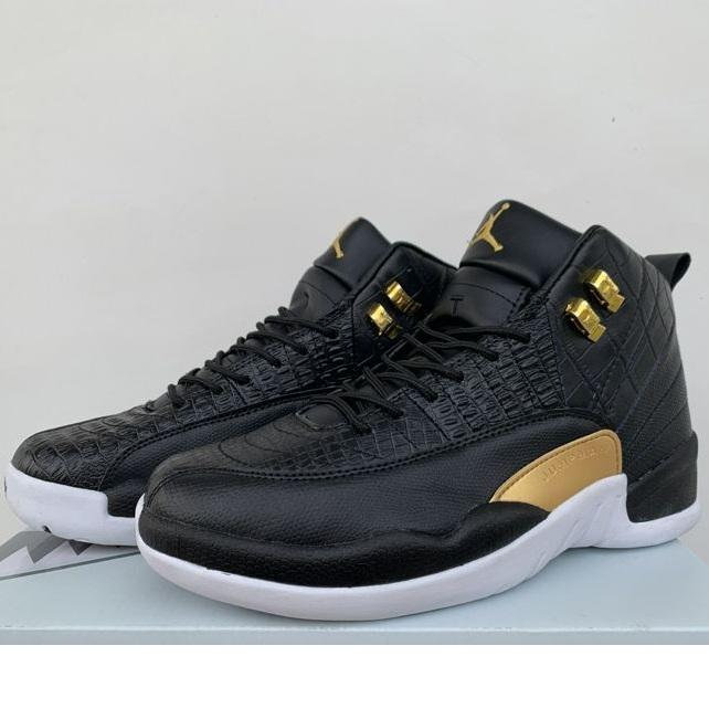 buy online 19a67 cb1bb Cheap new retro 12s basketball shoes j12 Wings black gold snake skin Blue  air flights youth kids jumpman xii sports sneakers tennis with box