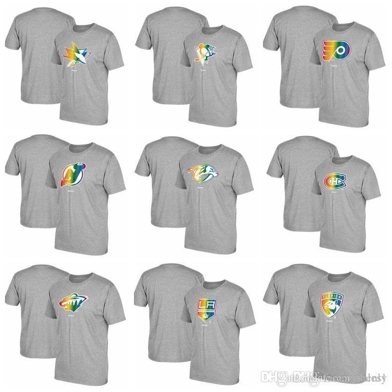 reputable site 2d284 e4321 Men Rainbow Pride T Shirt Gray Florida Panthers Los Angeles Kings Minnesota  Wild Montreal Canadiens Nashville Predators New Jersey Devils
