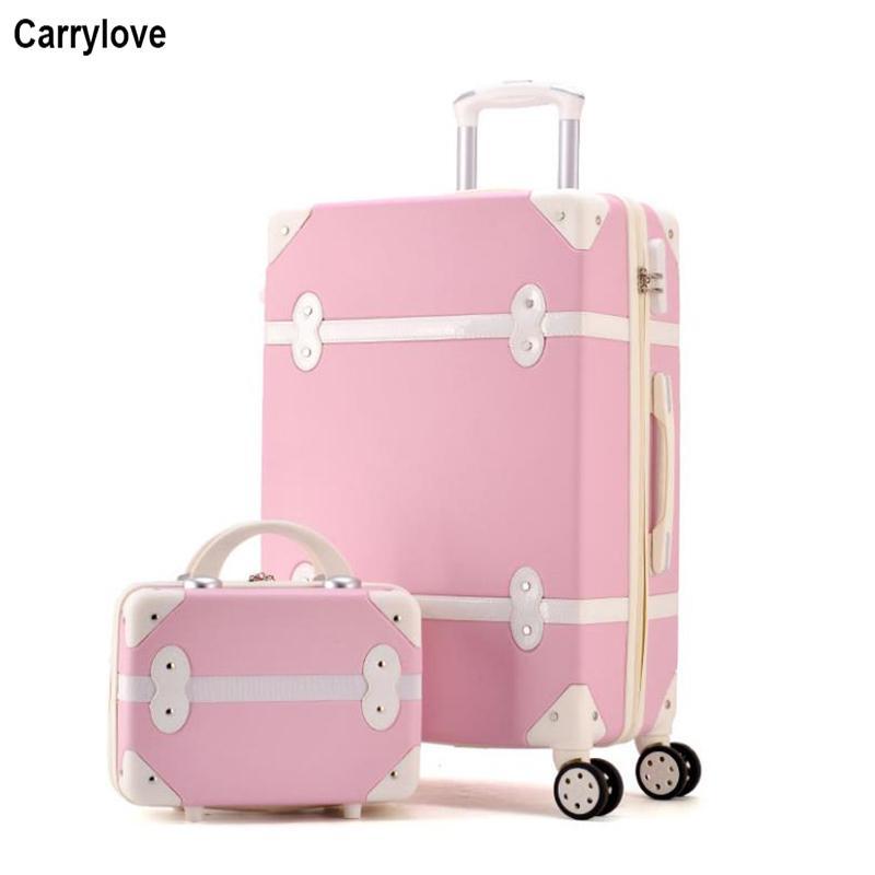 Gepäck & Taschen Klassische Retro Roll Gepäck Mit Kosmetik Tasche Für Frauen Reisen Tragen Auf Trolley Koffer Spinner Rad 20 22 24 26 Zoll Gepäck Sets