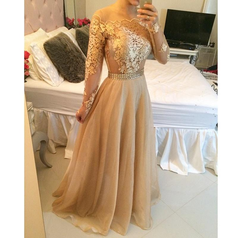 fe92498beed 2019 Gold Evening Gowns Dresses With Long Sleeve Lace Sheer A Line Prom  Party Dress Long Wholesale Vestidos Longo De Festa Elegant Evening Gowns  Elegant ...