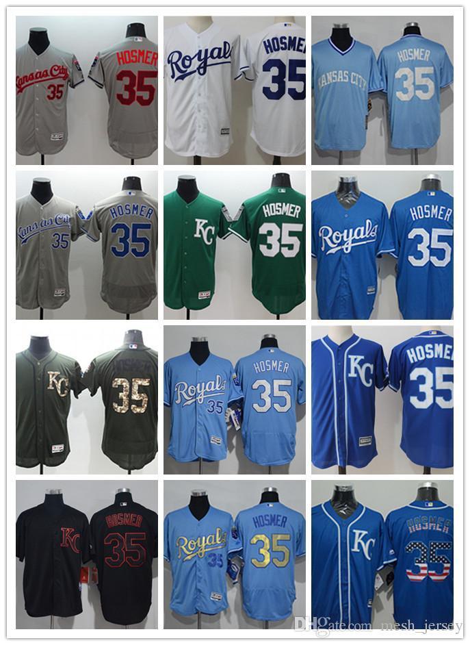 ab908bdb1 2019 Custom Men Women Youth KC Royals Jersey  35 Eric Hosmer Home Blue  White Grey Baseball Jerseys From Wddsport