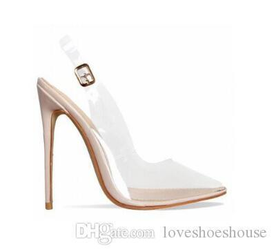 7af96adeb99 Sexy2019 Rose Gold White Clear PVC Stiletto Heels Women Sandals Buckle  Strap Slingback Women Pumps Pointed Toe High Heels Shoes