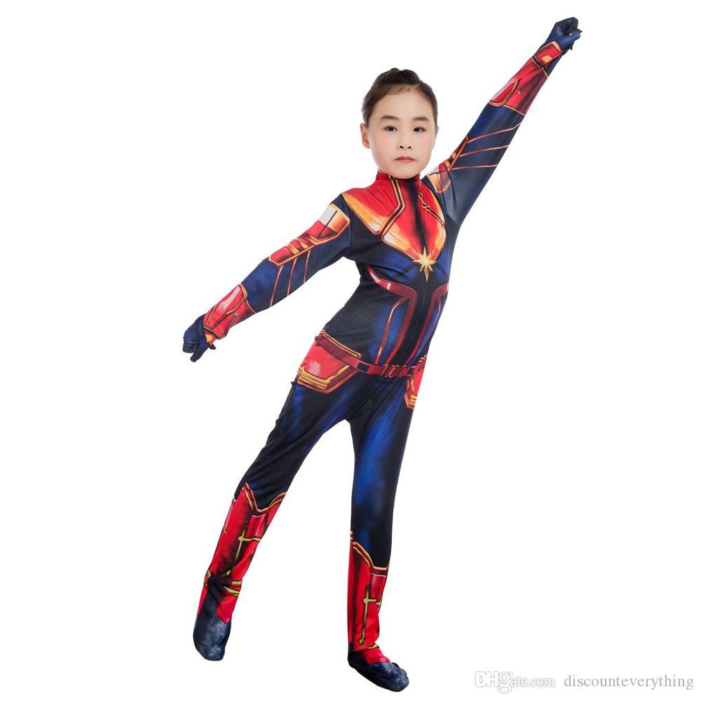 470e525830 New Girls Captain Marvel Cosplay Costume Children Superhero Ms Marvel Carol  Danvers Bodysuit Jumpsuit Marvel Women Costume Suit Group Halloween Costume  ...