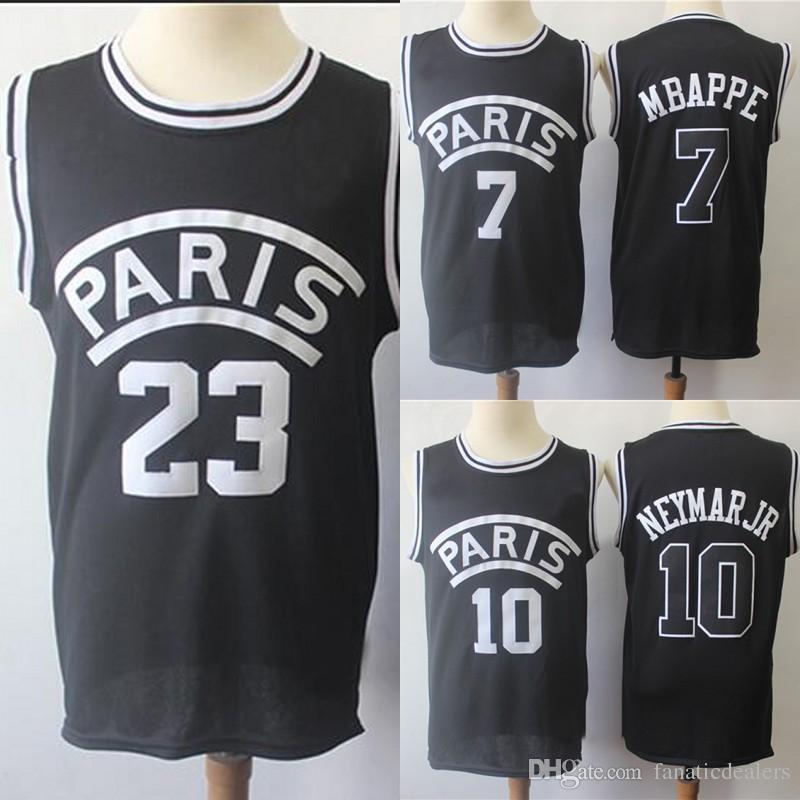 9c1ea4c6ac948 2019 AJ PSG Paris Jersey  7 Mbappe Basketball Jersey  10 NEYMAR JR 23  Stitched Movie Basketball Jersey Men Black S 2XL From Fanaticdealers