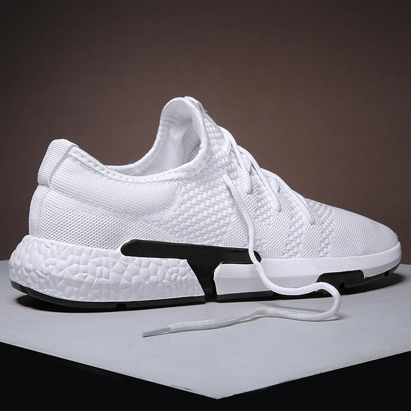 1Male Shoe Fly Sneakers Ventilation Network Noodles Light Skate Shoes Solid Color Concise Small White Shoes