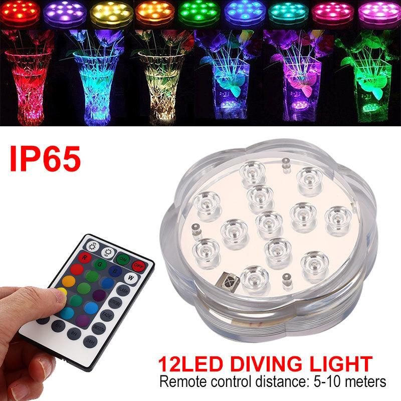 2019 Rgb Submersible Light 12 Led Remote Controlled Battery Operated
