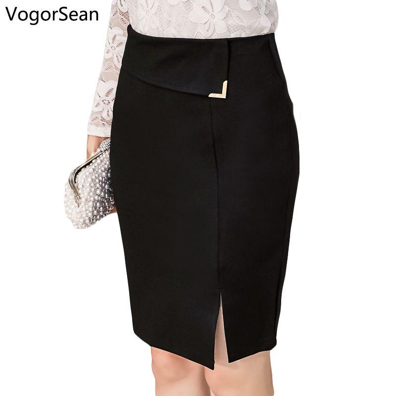 e62b9b4e4 VogorSean Mujeres Delgado Sexy Formal Office Lady Falda Faldas Mujer  Elástico Cintura Alta Negro Paso Lápiz Saias OL Faldas Para Trabajo