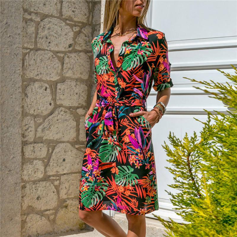 d46b61b3c1 Wholesale 2019 Ladies Dresses Long Sleeve Casual Dress Floral Printed Sexy  V Neck Chiffon Maxi Dress For Women Floral Summer Dress Casual Cocktail  Dresses ...