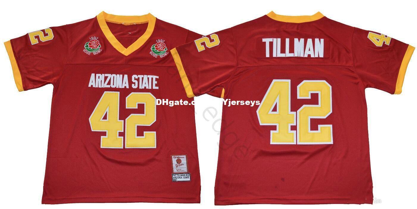 lowest price 47a12 f3a3a NCAA Arizona State Sun Devis College #42 Pat Tillman Jersey ASU 1997 Rose  Bowl Stitched Pat Tillman Home Maroon University Football Jerseys