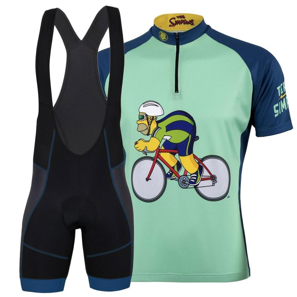 092a0e247 Team Cycling Jersey Race Kit 2018 THE SIMPSONS TEAM Set Short Sleeve Jersey  And Bib Shorts 9D Pad Road Bike MTB Riding Clothing Bike Clothing Cycling  ...