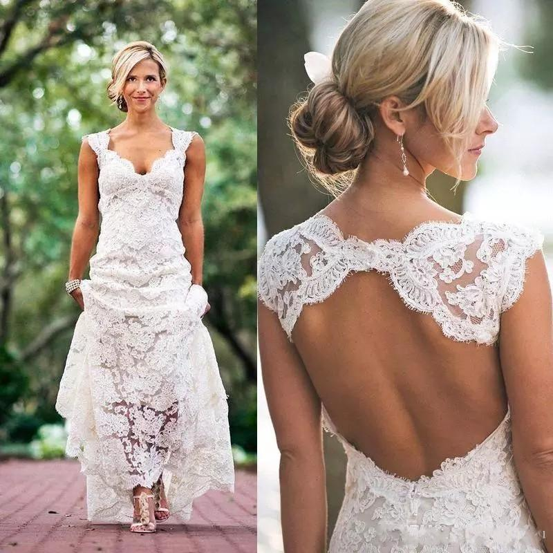 2018 Full Lace Wedding Dresses Country Style Pluging V-neck Cap Sleeves Keyhole Back A Line Vintage Custom Made Bridal Gowns Vestios