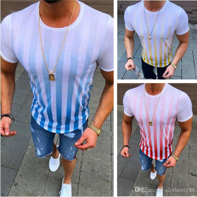 Wholesale 2019 mens designer t shirts summer clothes print striped simple casual short sleeve POLO shirt mens sports breathable T-shirts