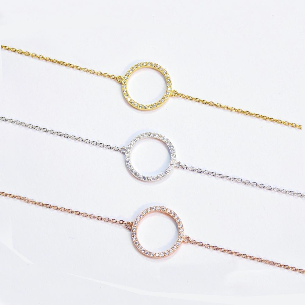 Bricolaje al por mayor Eternidad cz cristales Círculo Pulsera de Plata Amarillo Rosa oro delicado karma círculo encanto pulsera pulsera de las mujeres
